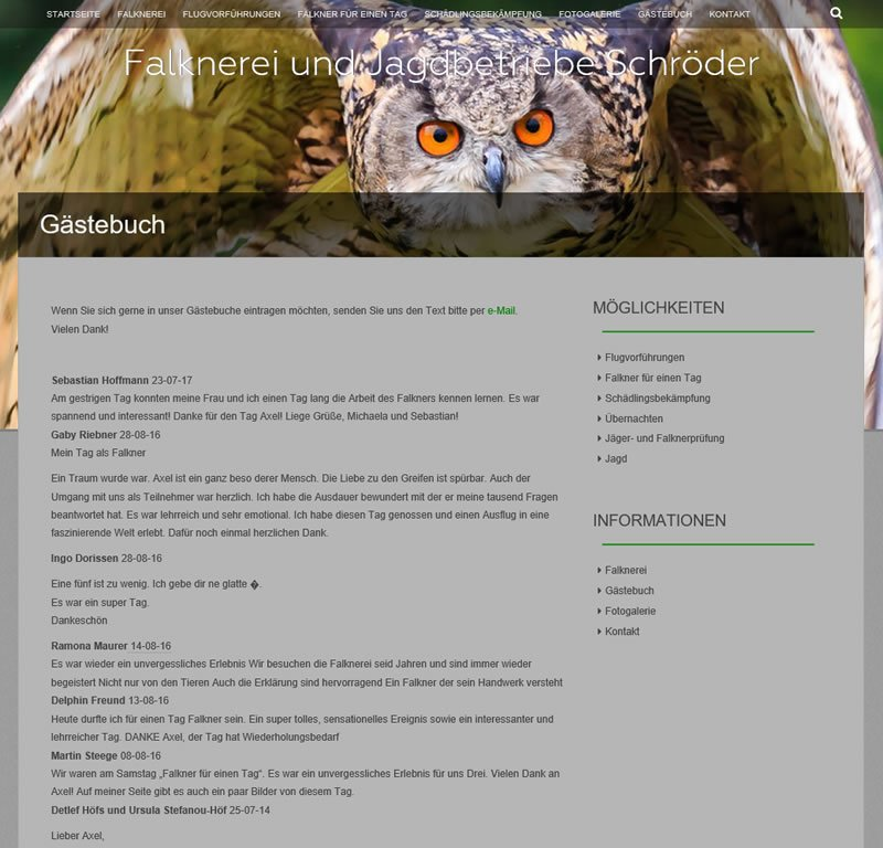 webdesign zeewolde voor Falknerei Schröder