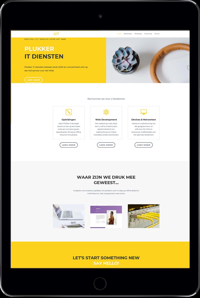 Voorbeeld site Plukker op iPad